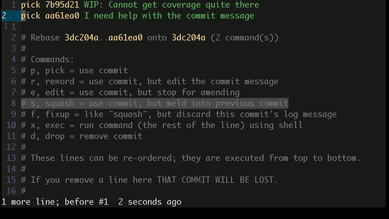 git tutorial about How to squash multiple git commits