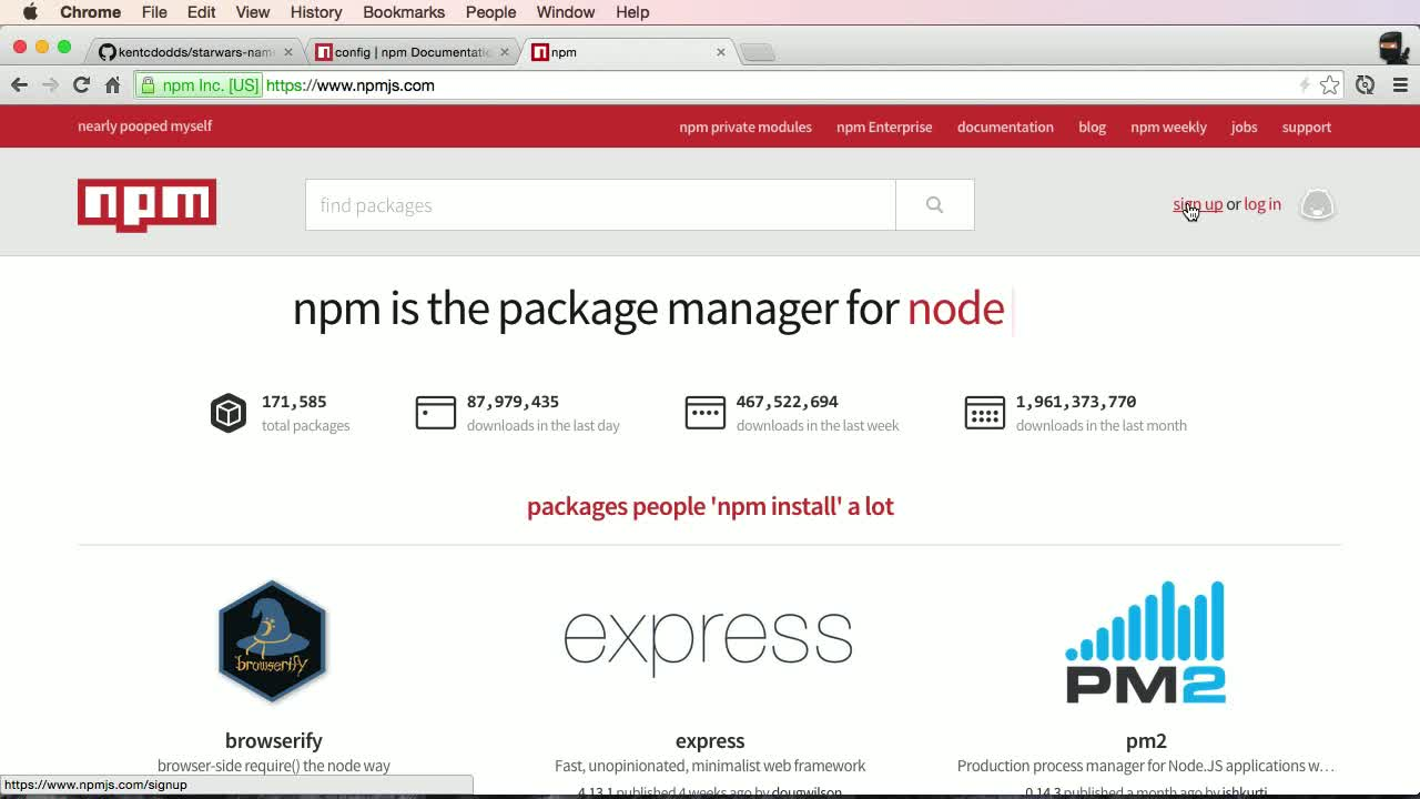 js tutorial about Configuring npm and creating a package.json