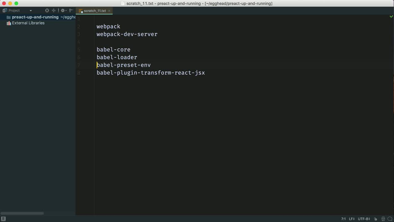 react tutorial about Install Development Tools for Preact