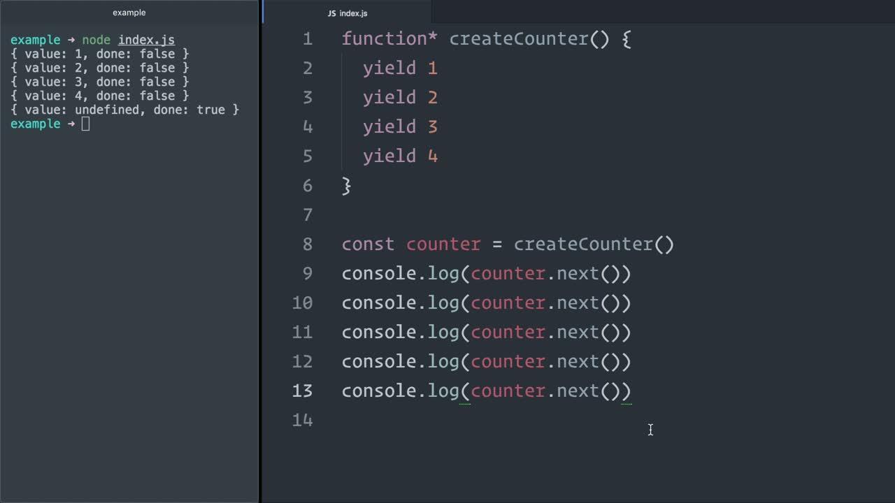 js tutorial about Iterate over JavaScript (ES6) generators