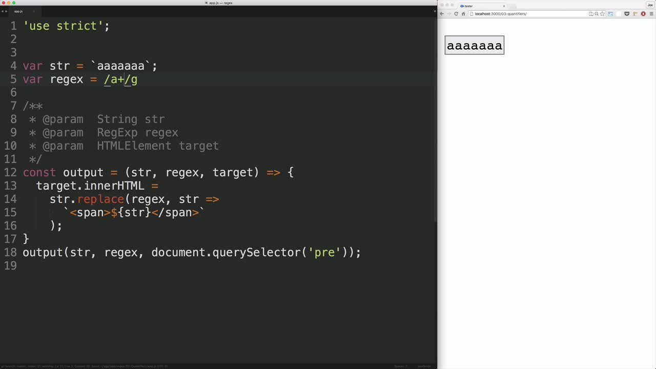 js tutorial about Use regular expressions to find repeated patterns