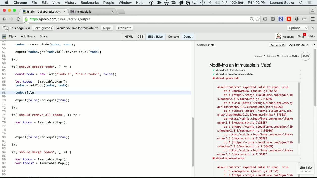 js tutorial about Modifying an Immutable.js Map()
