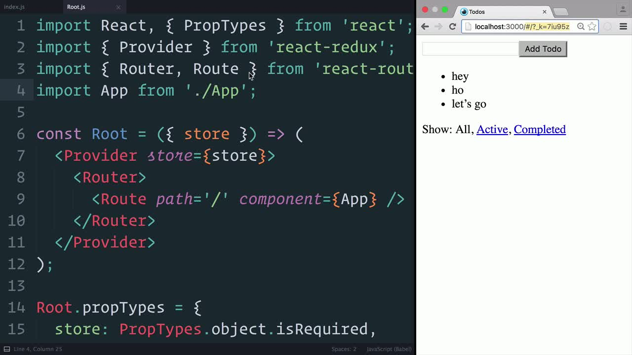 react tutorial about Redux: Adding React Router to the Project