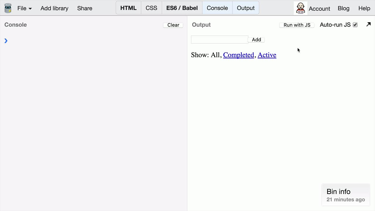 AngularJS tutorial about Redux: Describing State Changes with Actions