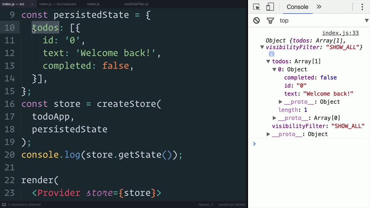 react tutorial about Redux: Supplying the Initial State