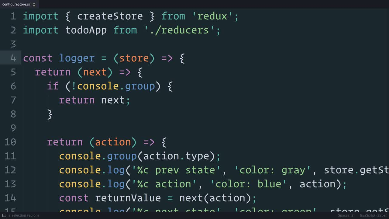 react tutorial about Redux: The Middleware Chain