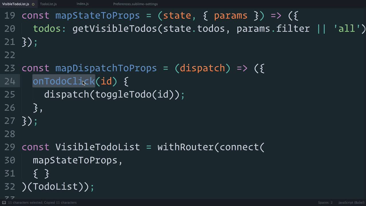 redux tutorial about Redux: Using mapDispatchToProps() Shorthand Notation