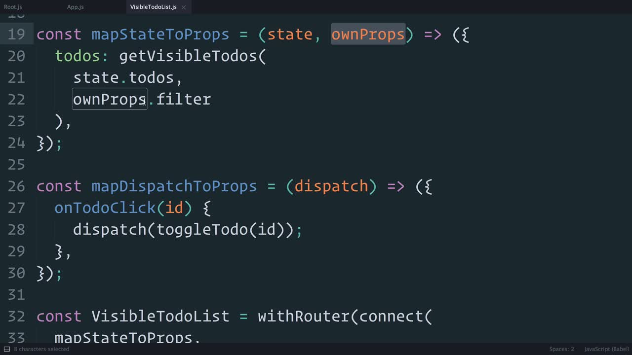 AngularJS tutorial about Redux: Using withRouter() to Inject the Params into Connected Components