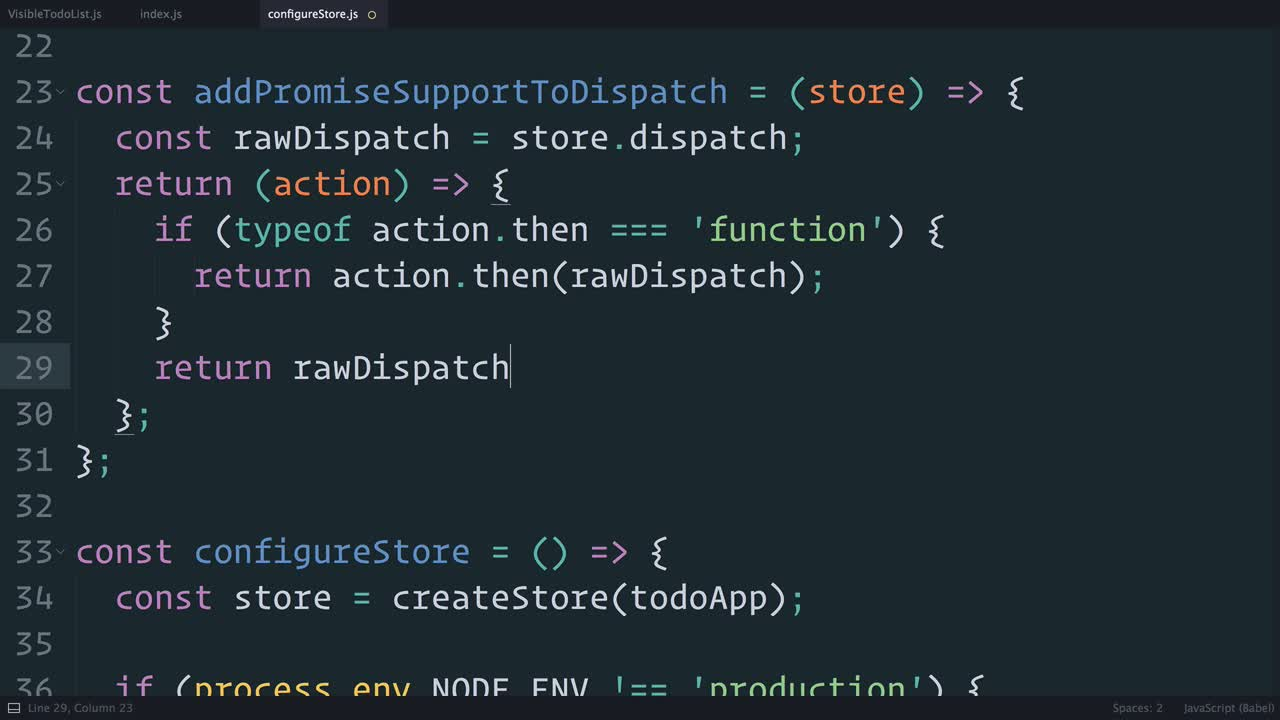 redux tutorial about Redux: Wrapping dispatch() to Recognize Promises