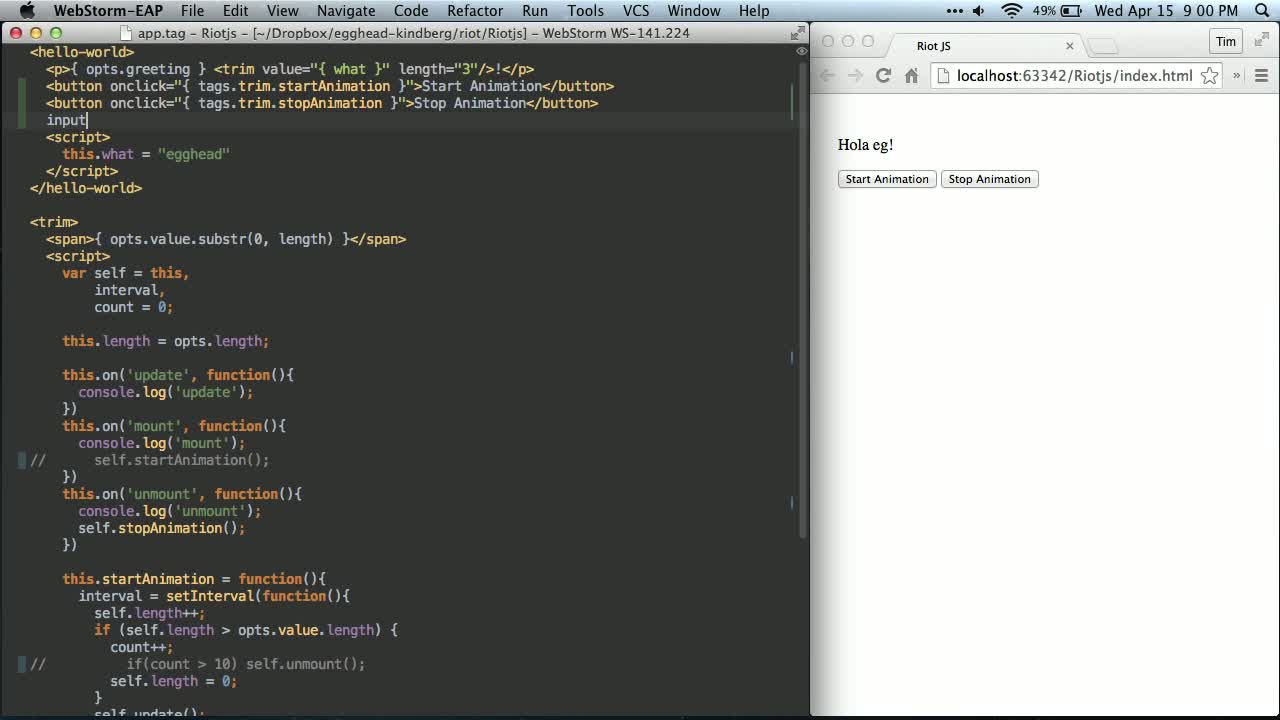 AngularJS tutorial about Riot JS - DOM Events