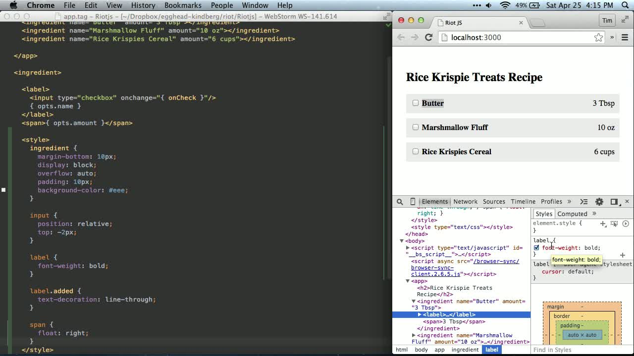 riot tutorial about Riot JS - Scoped CSS and Toggled Classes