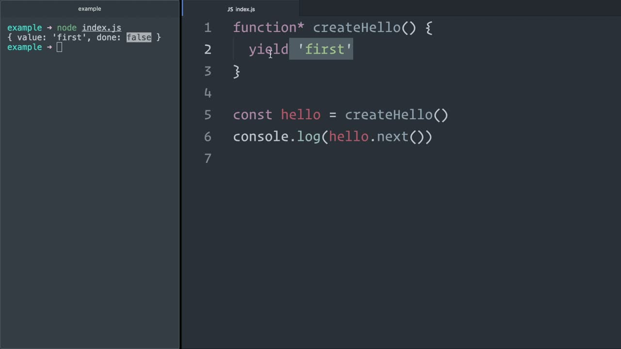 js tutorial about Send messages to and from JavaScript (ES6) generators