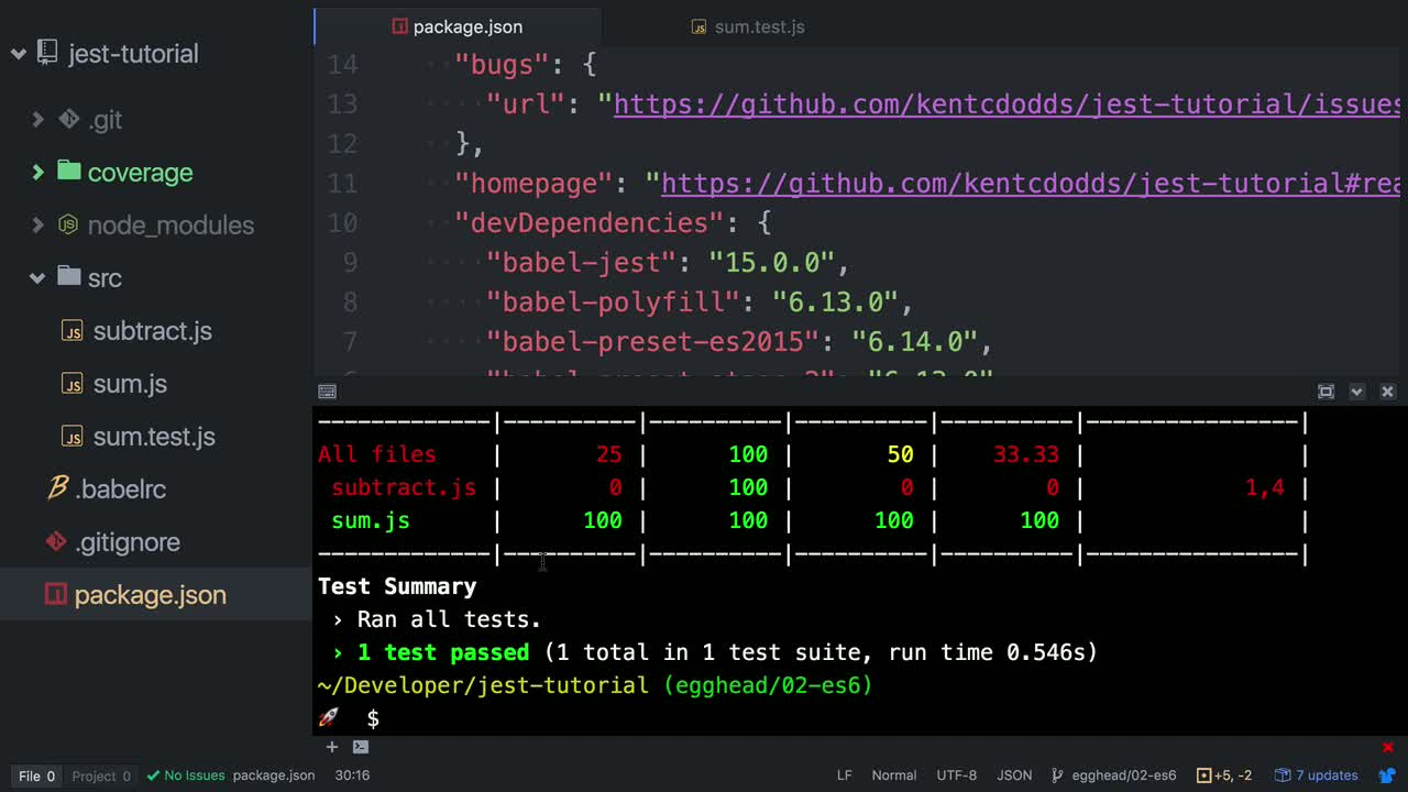 AngularJS tutorial about Track project code coverage with Jest