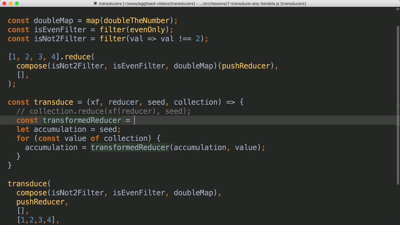 javascript tutorial about Transduce over any Iteratable Collection