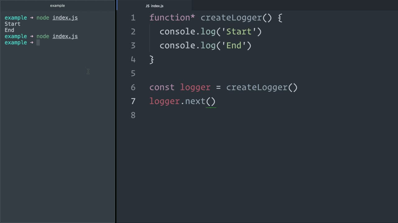 js tutorial about Use JavaScript (ES6) generators to pause function execution