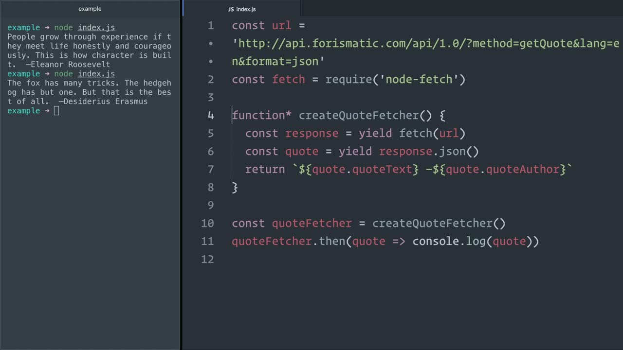 js tutorial about Use JavaScript (ES6) generators with Promises to handle async flows