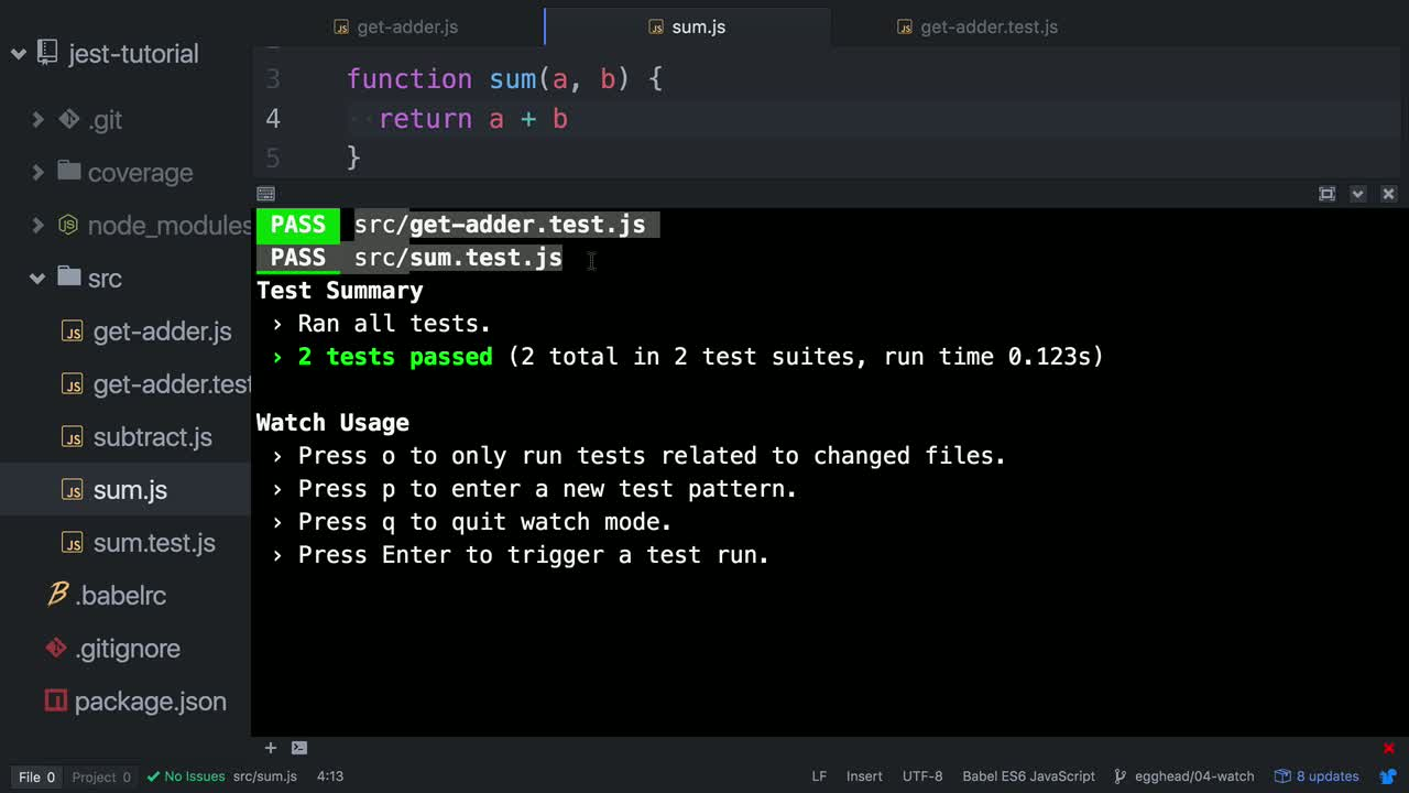 js tutorial about Use Jest's Interactive Watch Mode