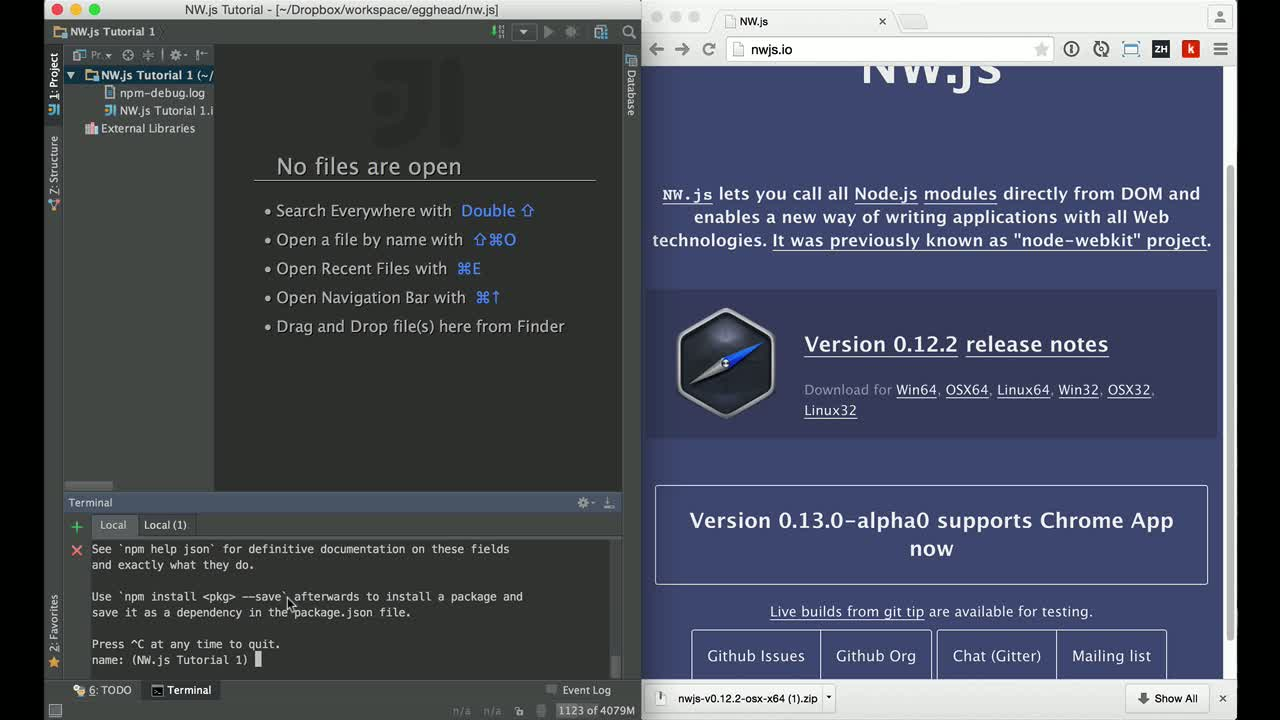 javascript tutorial about Your first NW.js desktop application in less than 5 minutes
