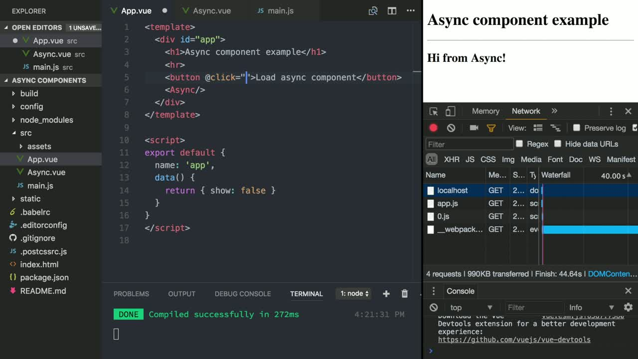 vue tutorial about Load components when needed with Vue async components