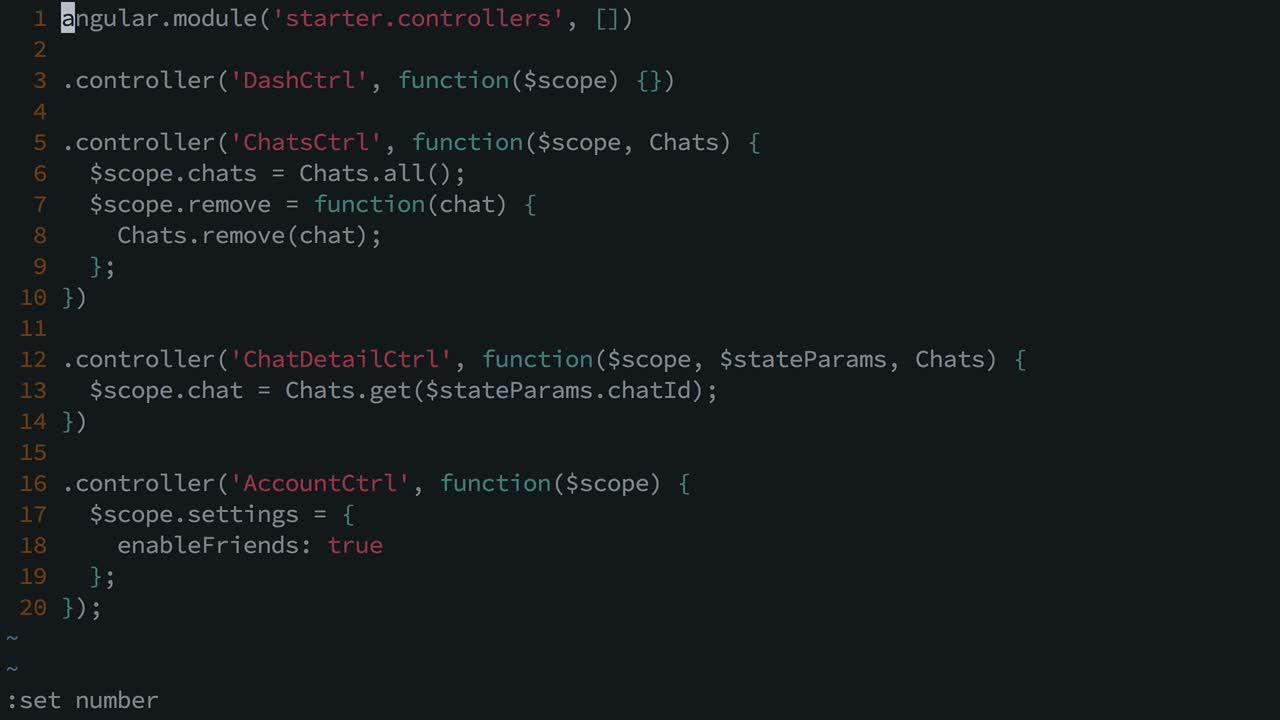 AngularJS tutorial about Configure VIM