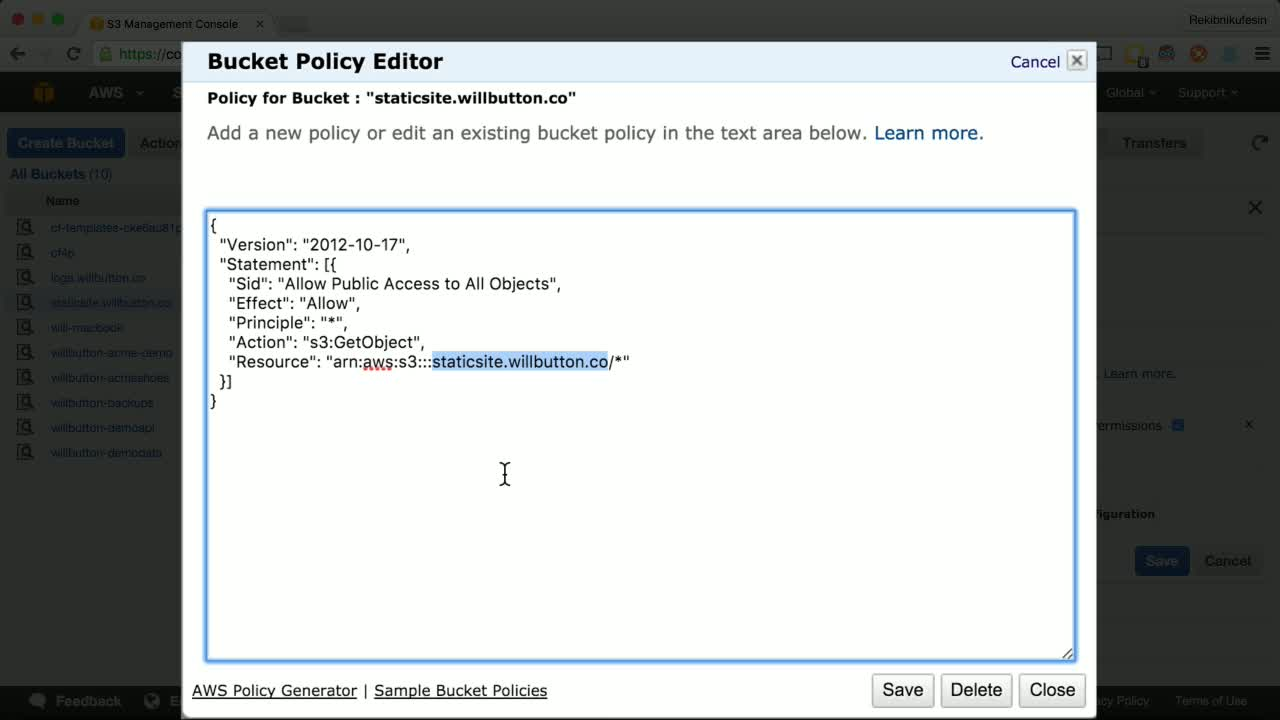 aws tutorial about Hosting a Static Website on Amazon S3