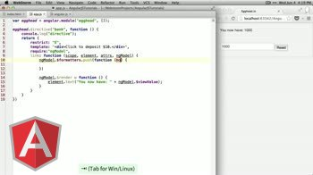 AngularJS tutorial about ngModelController render function