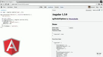 angularjs tutorial about New in Angular 1.3: ng-model-options updateOn and debounce