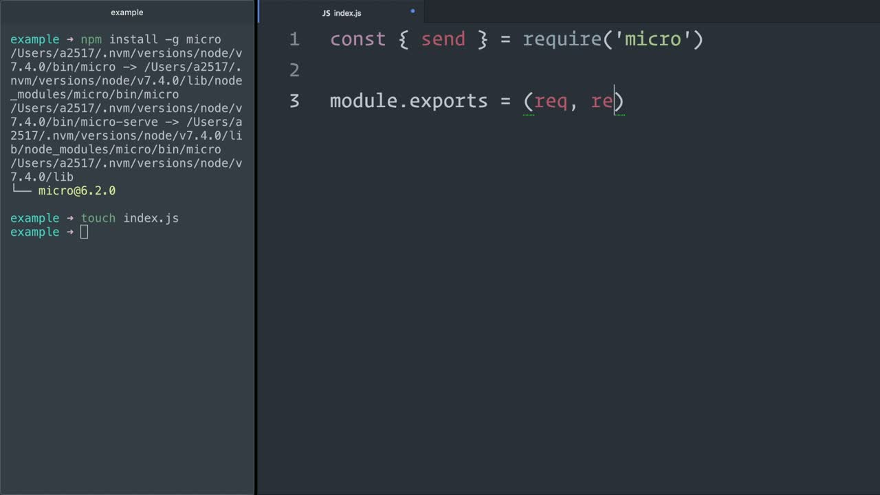 node tutorial about Build microservices in Node.js with micro