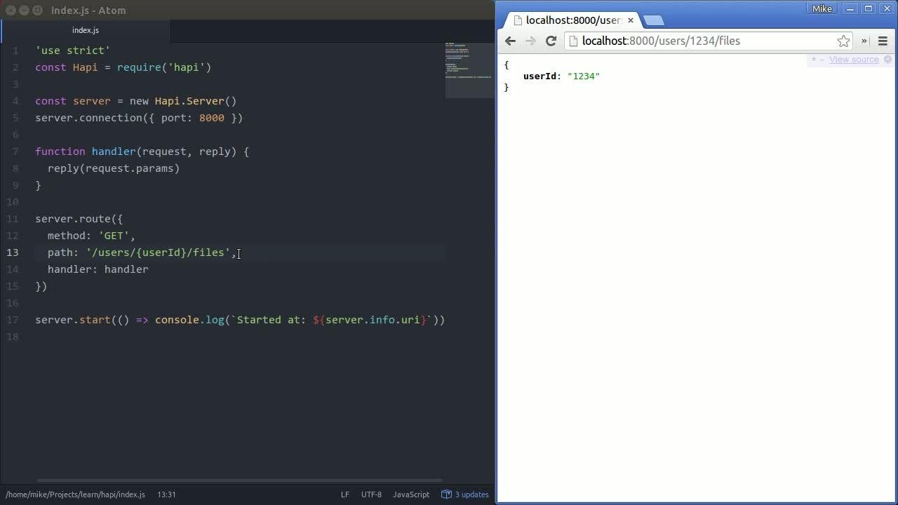 node tutorial about hapi.js - Route parameters