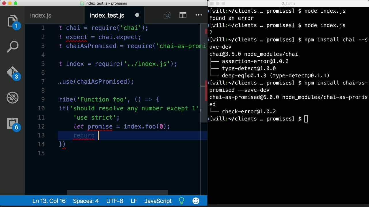 chai tutorial about Testing ES6 Promises in Node.js using Mocha and Chai