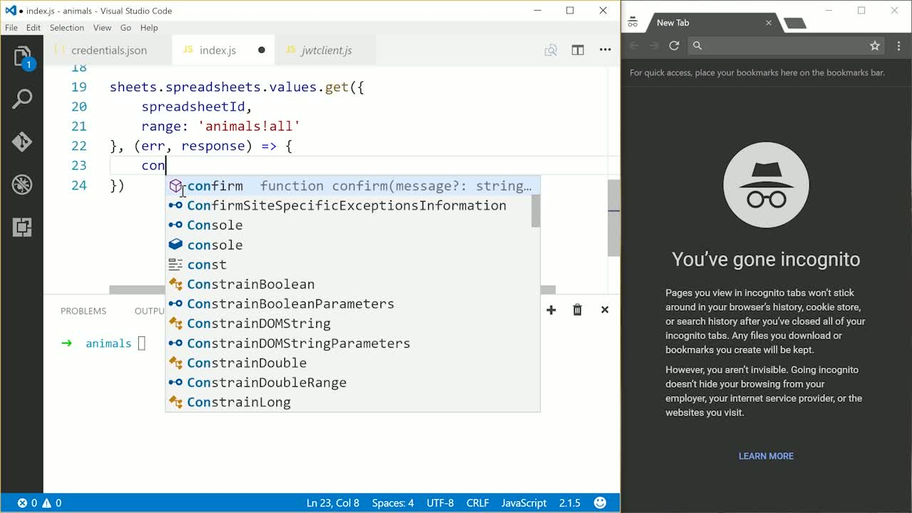 node tutorial about Use Google Sheets with Node and Express in Fun Side Projects