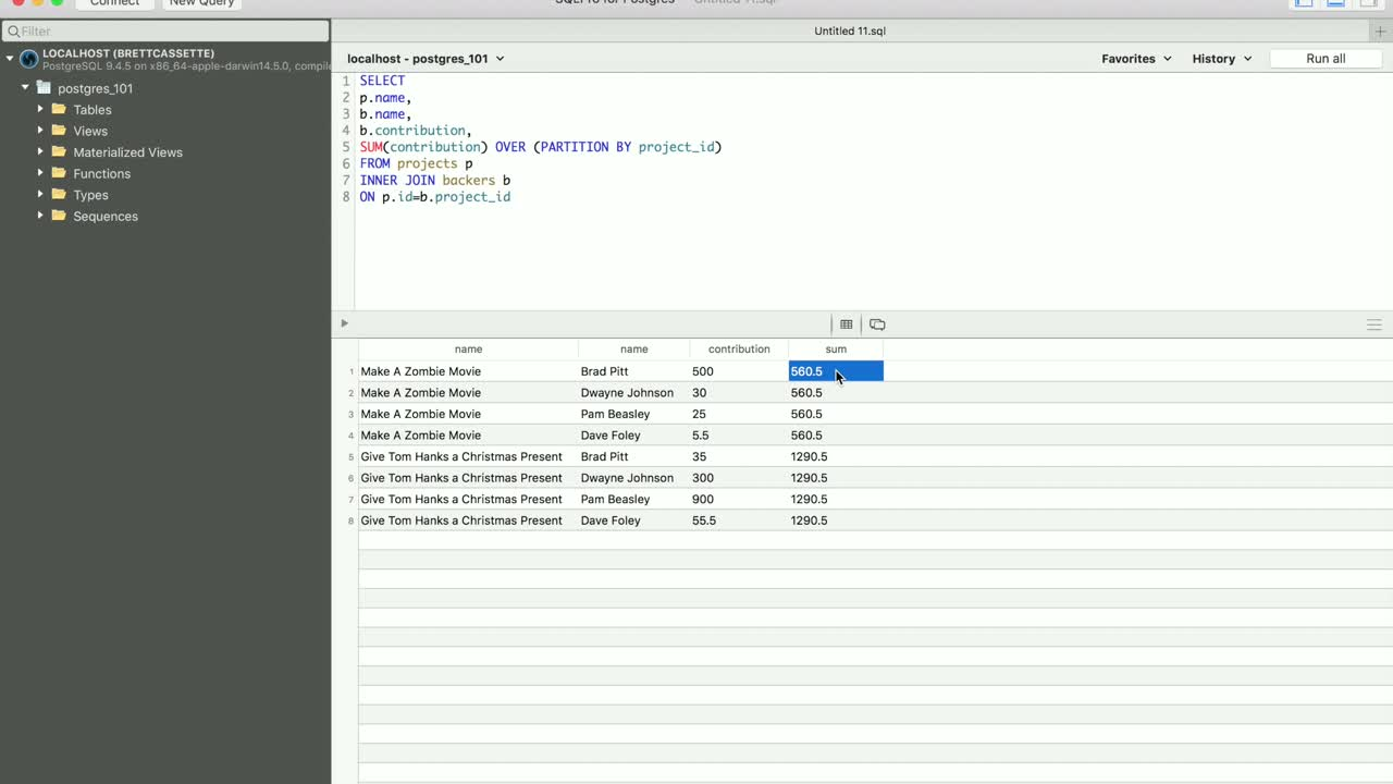 postgres tutorial about Create Running Totals Using Window Functions