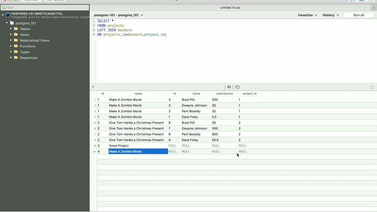 postgres tutorial about Find Lonely Postgres Data with Left and Right Join