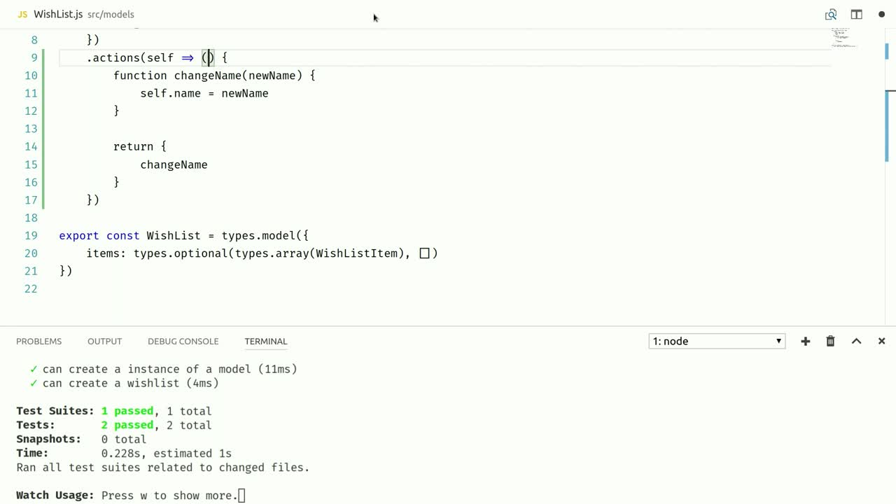 react tutorial about Attach Behavior to mobx-state-tree Models Using Actions