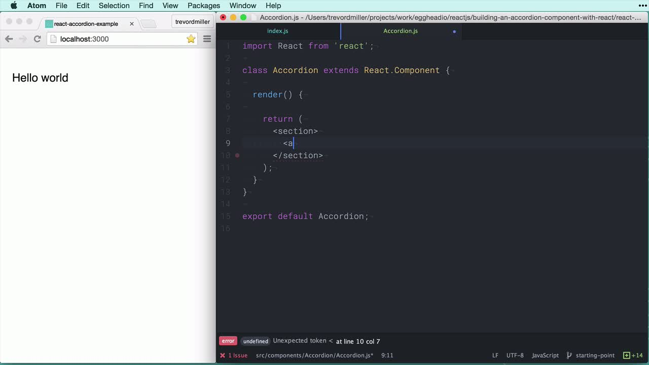 react tutorial about Building an accordion component with React