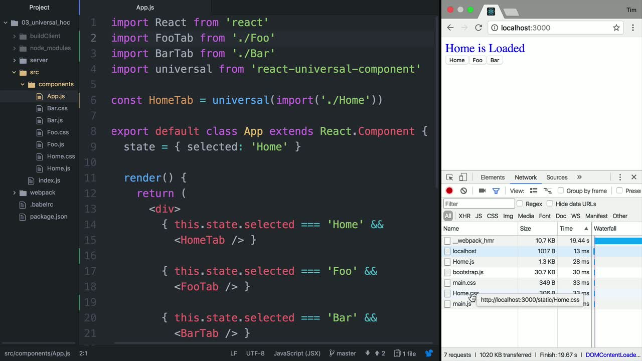 react tutorial about Code-Splitting Components with the Universal Higher-Order Component