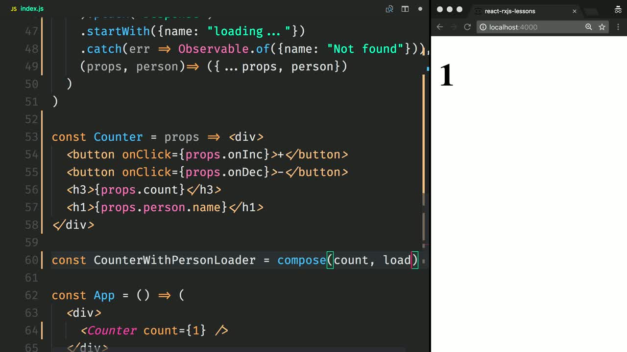 react tutorial about Compose Streams of React Props with Recompose's compose and RxJS