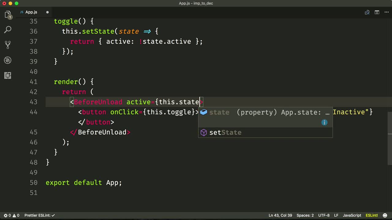 react tutorial about Convert Imperative Code to a Declarative React Component