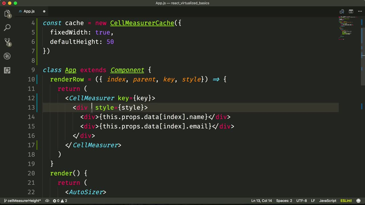 react tutorial about Create a Virtualized List with Auto Sizing Cells using react-virtualized and CellMeasurer