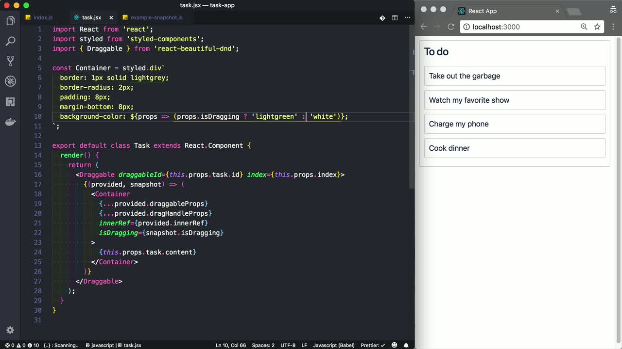 Customise the Appearance of an App during a Drag using react