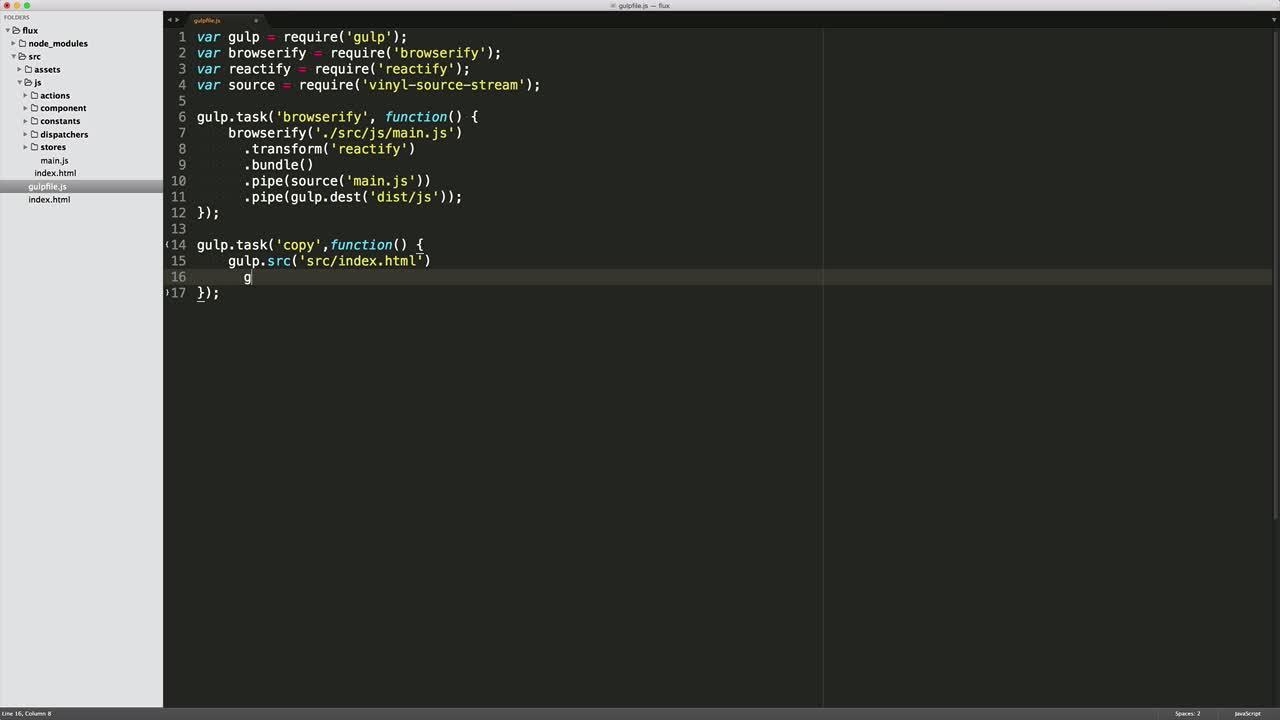 AngularJS tutorial about React Flux: Development Environment Setup