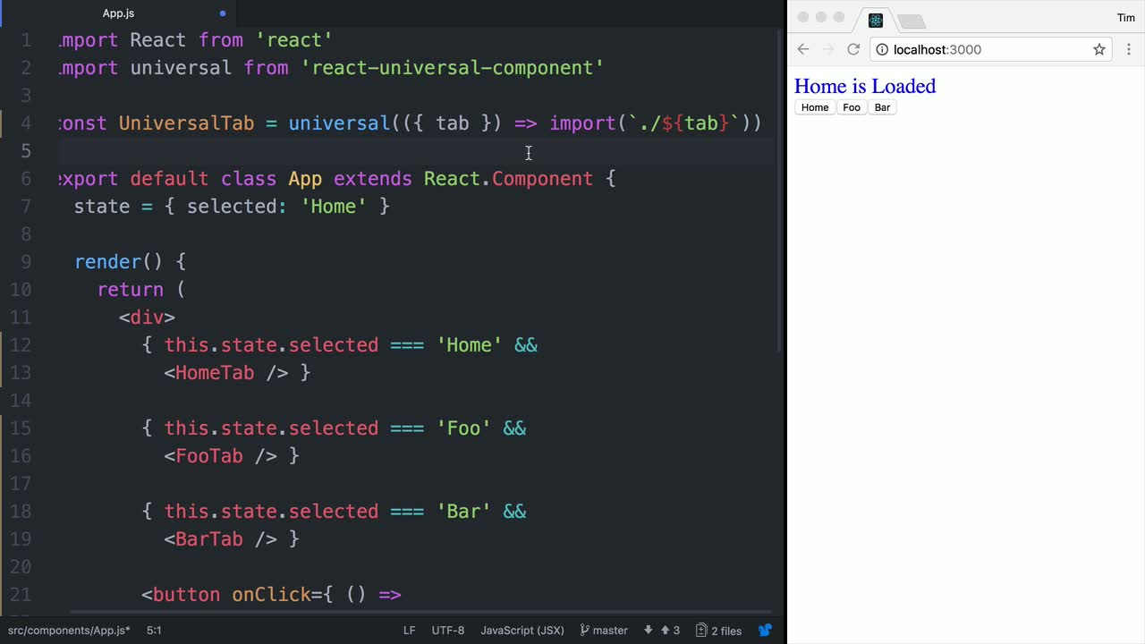 react tutorial about Dynamically Load a Code-Split Universal React Component via a Prop