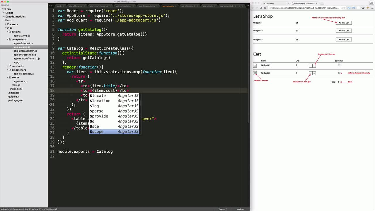 AngularJS tutorial about React Flux: Components/Views