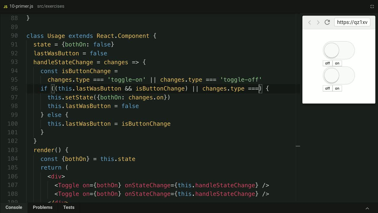 react tutorial about Improve the usability of Control Props with state change types