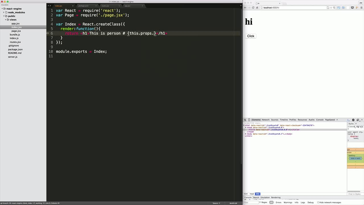 AngularJS tutorial about Isomorphic Routing in React with react-engine