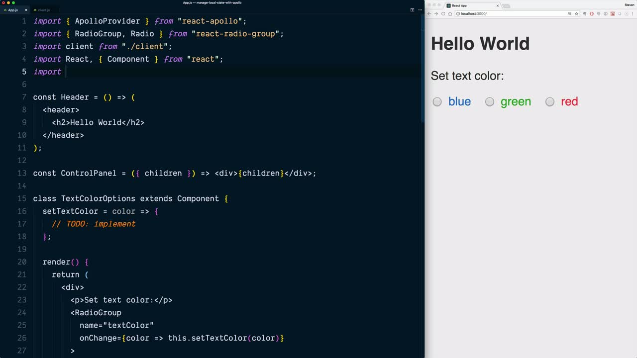 Manage local state in React using GraphQL and Apollo Client  from