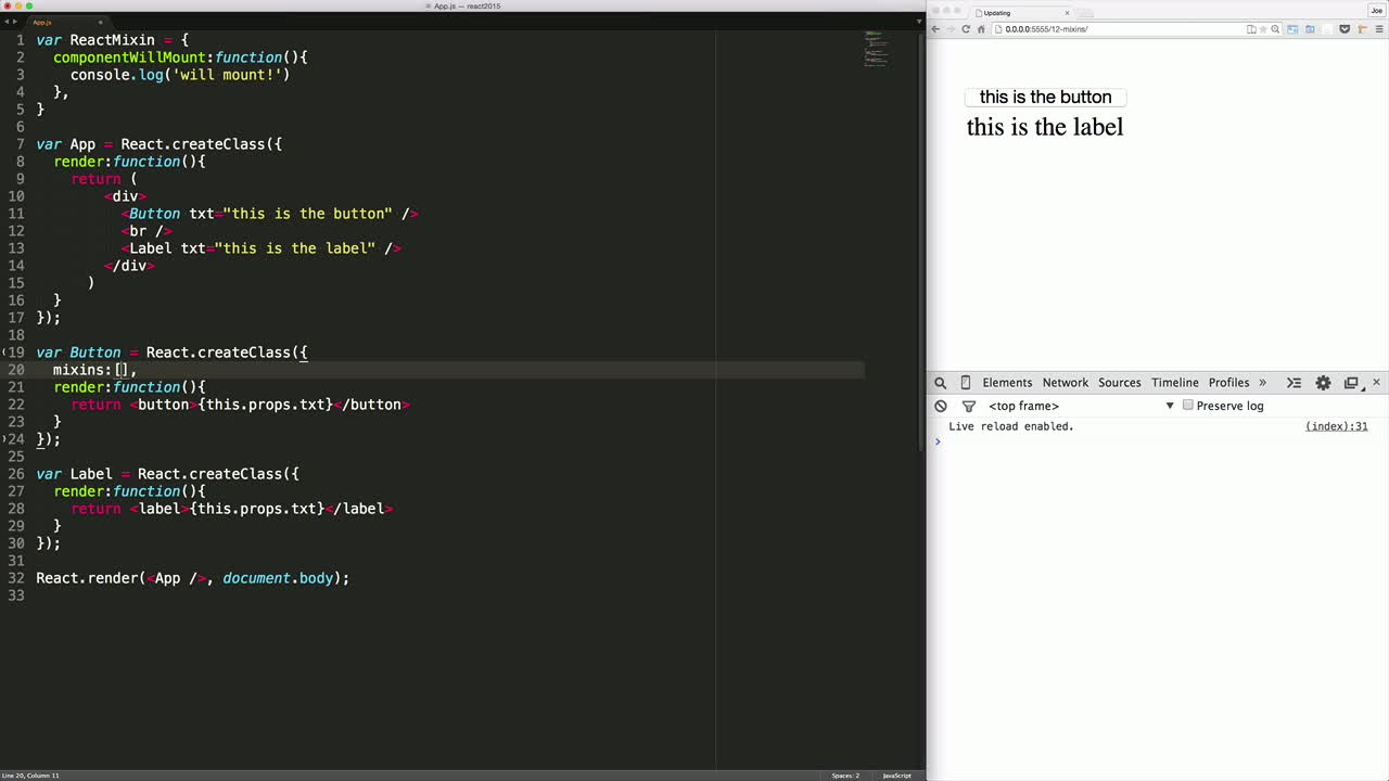 react tutorial about React Mixins