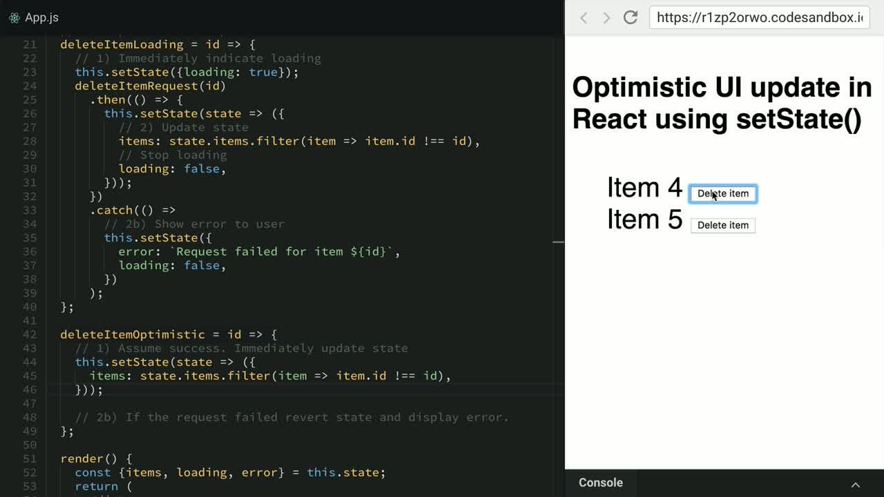 react tutorial about Optimistic UI update in React using setState()