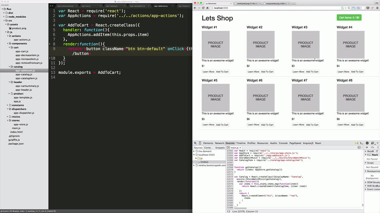 AngularJS tutorial about React Flux: Wrapping Up