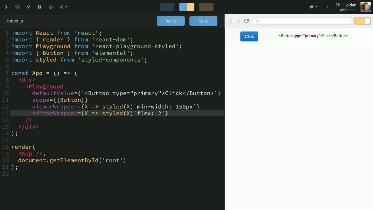 react tutorial about React Playground Styled for Component Docs